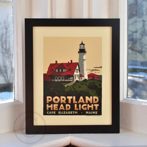 "Portland Head Light Art Print 8"" x 10"" Framed Travel Poster - Maine"