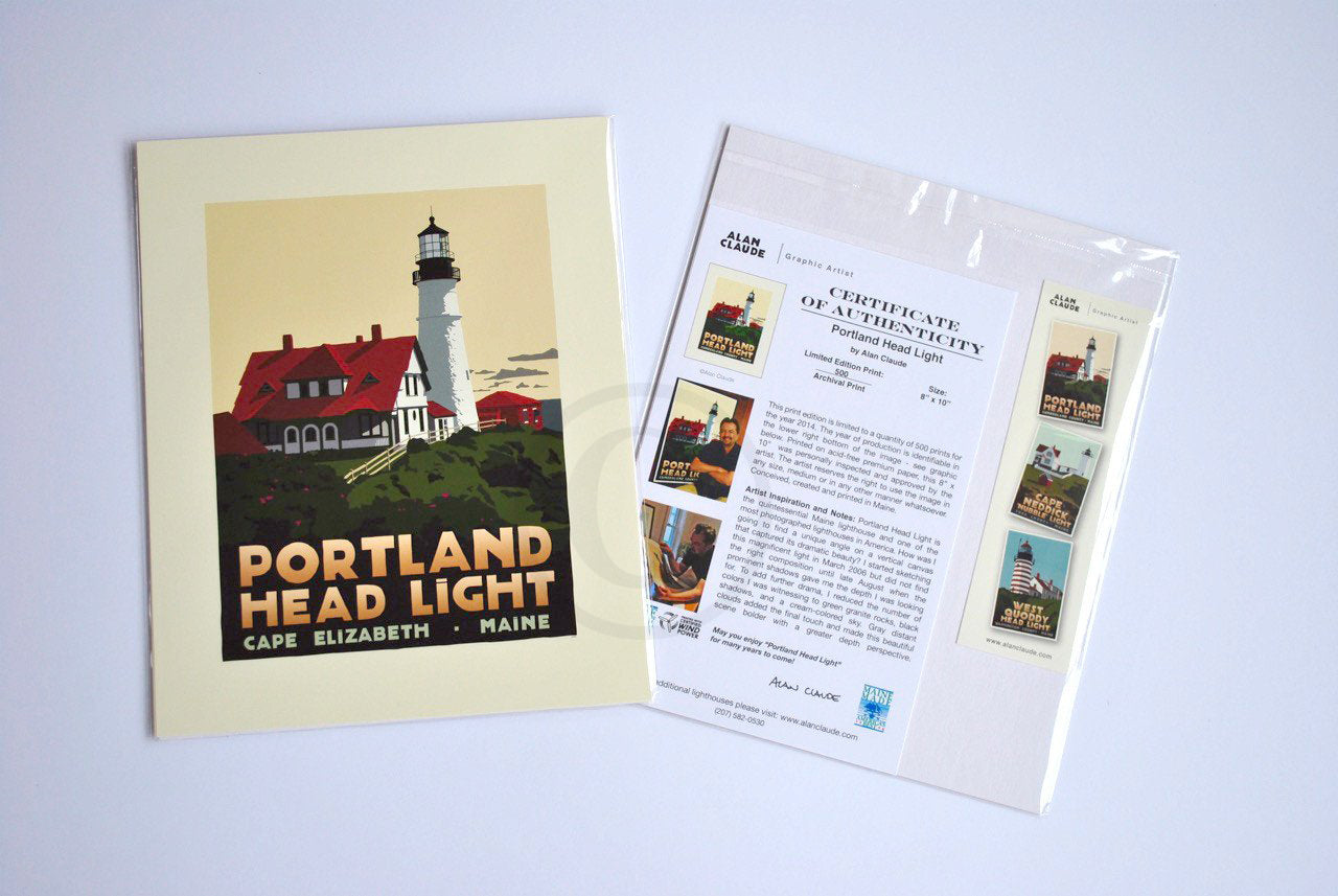 "Portland Head Light Art Print 8"" x 10"" Travel Poster - Maine"