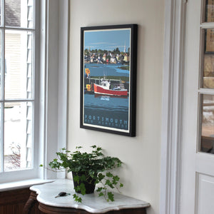 "Portsmouth Lobster Boat Art Print 18"" x 24"" Framed Travel Poster - New Hampshire"