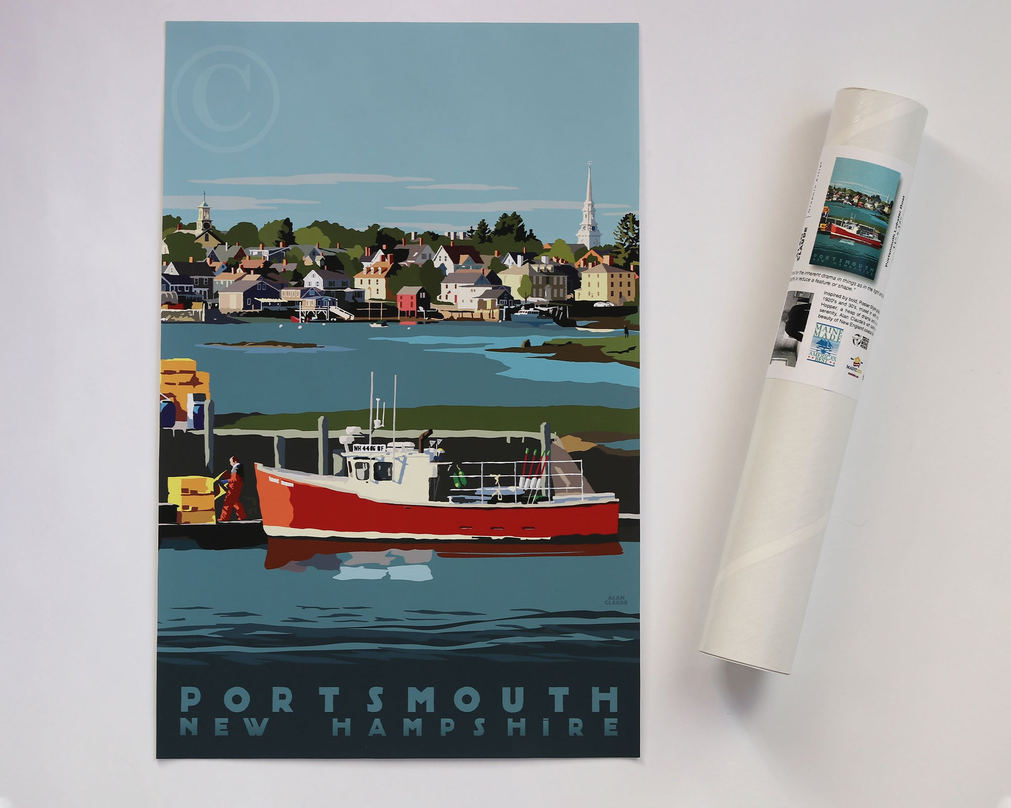 "Portsmouth Lobster Boat Art Print 11"" x 17"" Travel Poster - New Hampshire"
