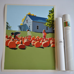 "Fall Pumpkin Kids Art Print 18"" x 24"" Wall Poster - Maine"