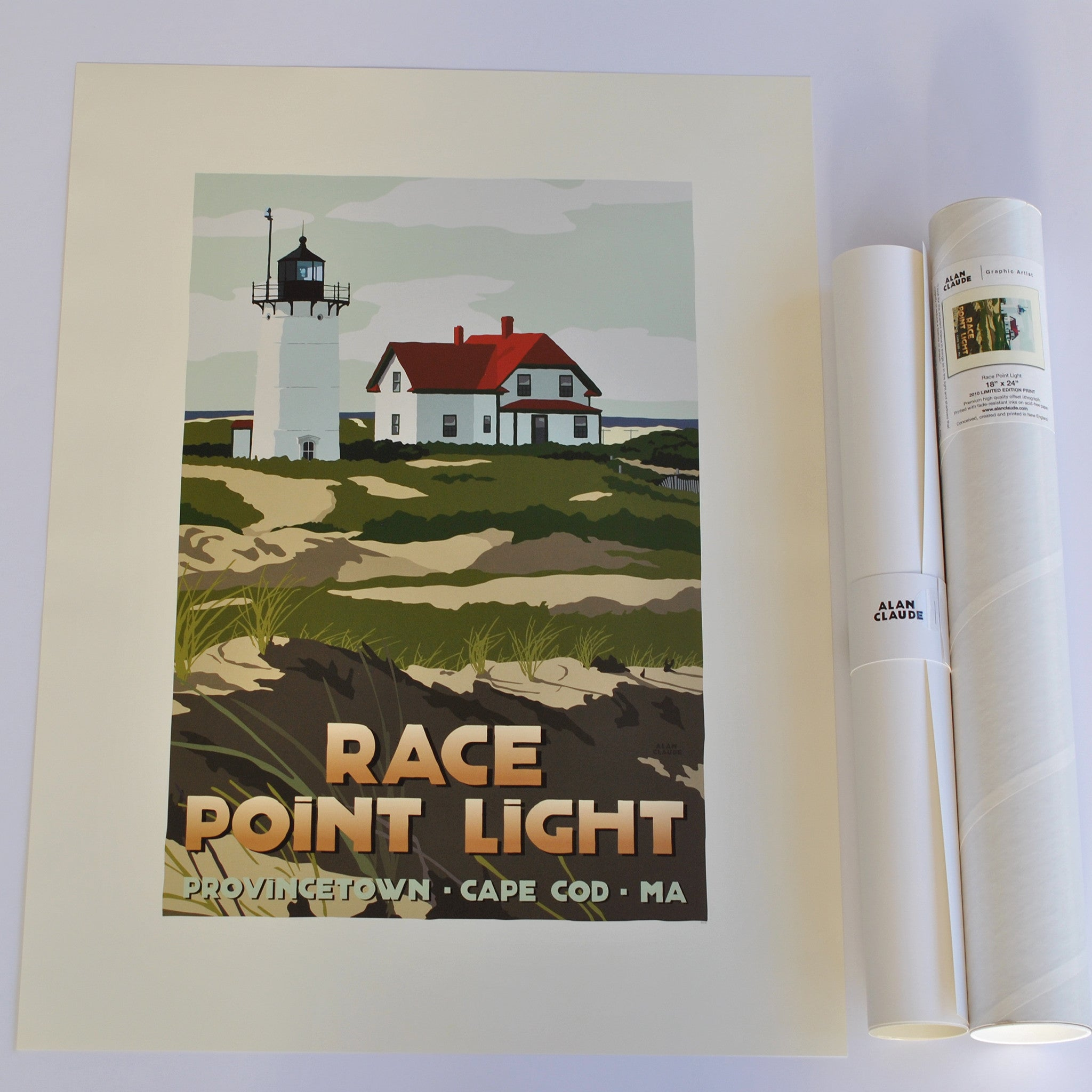 "Race Point Light Art Print 18"" x 24"" Travel Poster - Massachusetts"