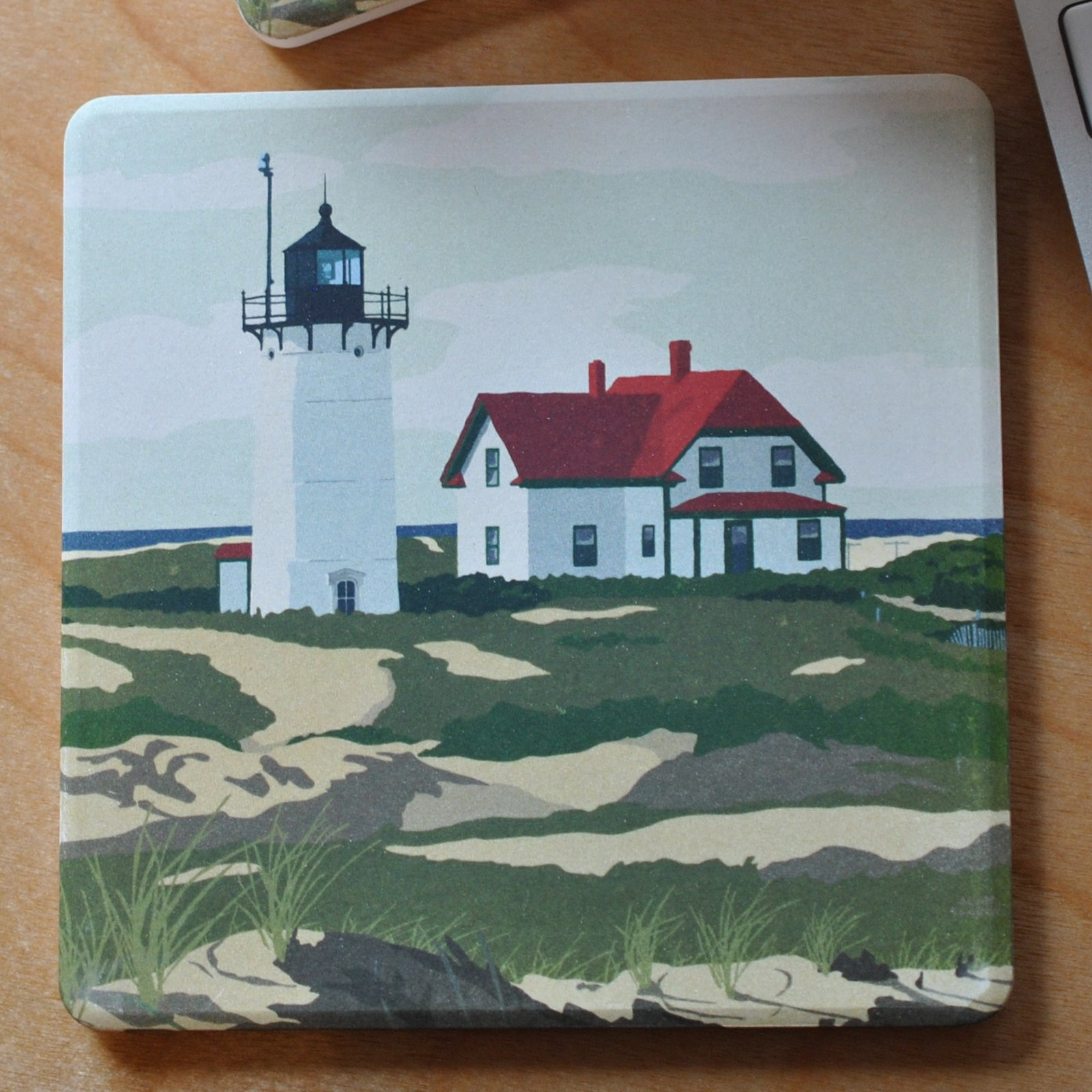 Race Point Light Art Drink Coaster - Massachusetts