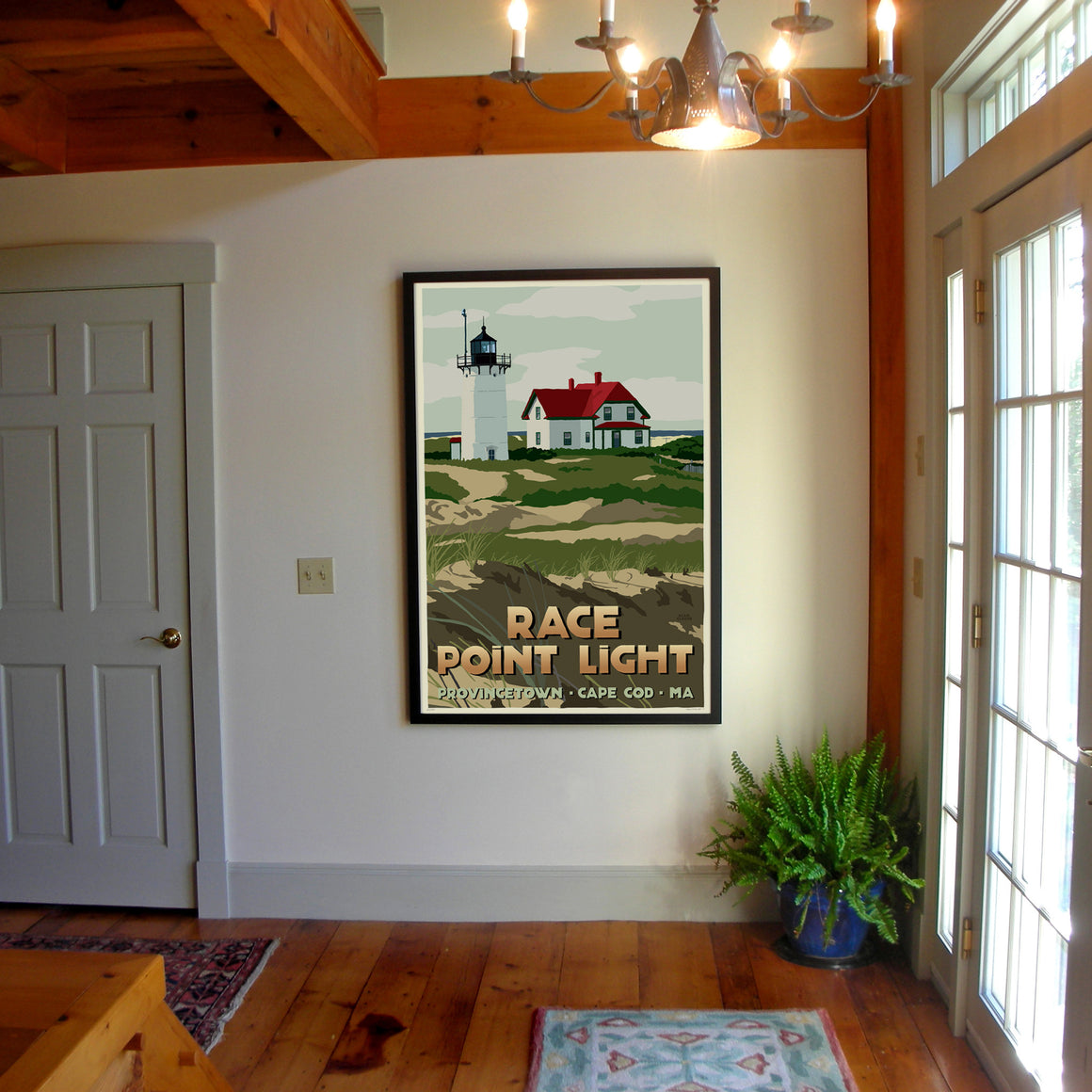 "Race Point Light Art Print 36"" x 53"" Framed Travel Poster - Massachusetts"
