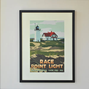 "Race Point Light Art Print 18"" x 24"" Framed Travel Poster - Massachusetts"