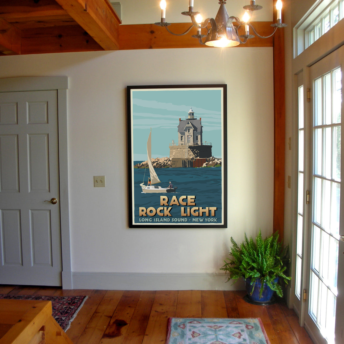 "Race Rock Light Art Print 36"" x 53"" Framed Travel Poster - New York"