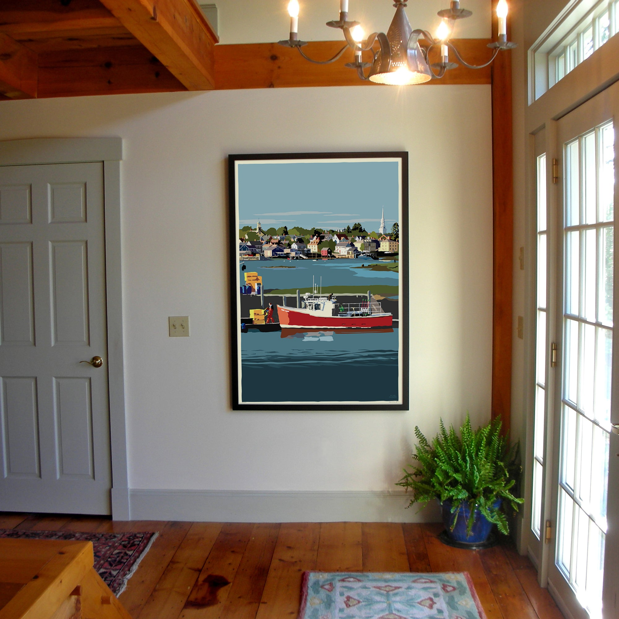 "Red Lobster Boat Art Print 36"" x 53"" Framed Wall Poster - New Hampshire"
