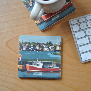 Red Lobster Boat Art Drink Coaster - New Hampshire