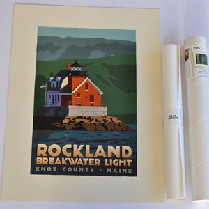 "Rockland Breakwater Light Art Print 18"" x 24"" Travel Poster - Maine"