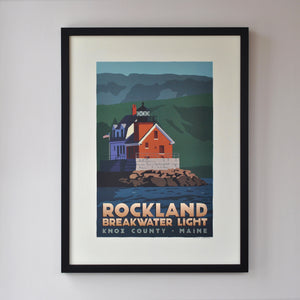 "Rockland Breakwater Light Art Print 18"" x 24"" Framed Travel Poster - Maine"