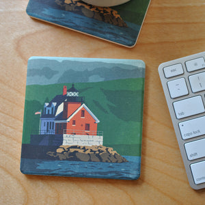 Rockland Breakwater Light Art Drink Coaster - Maine