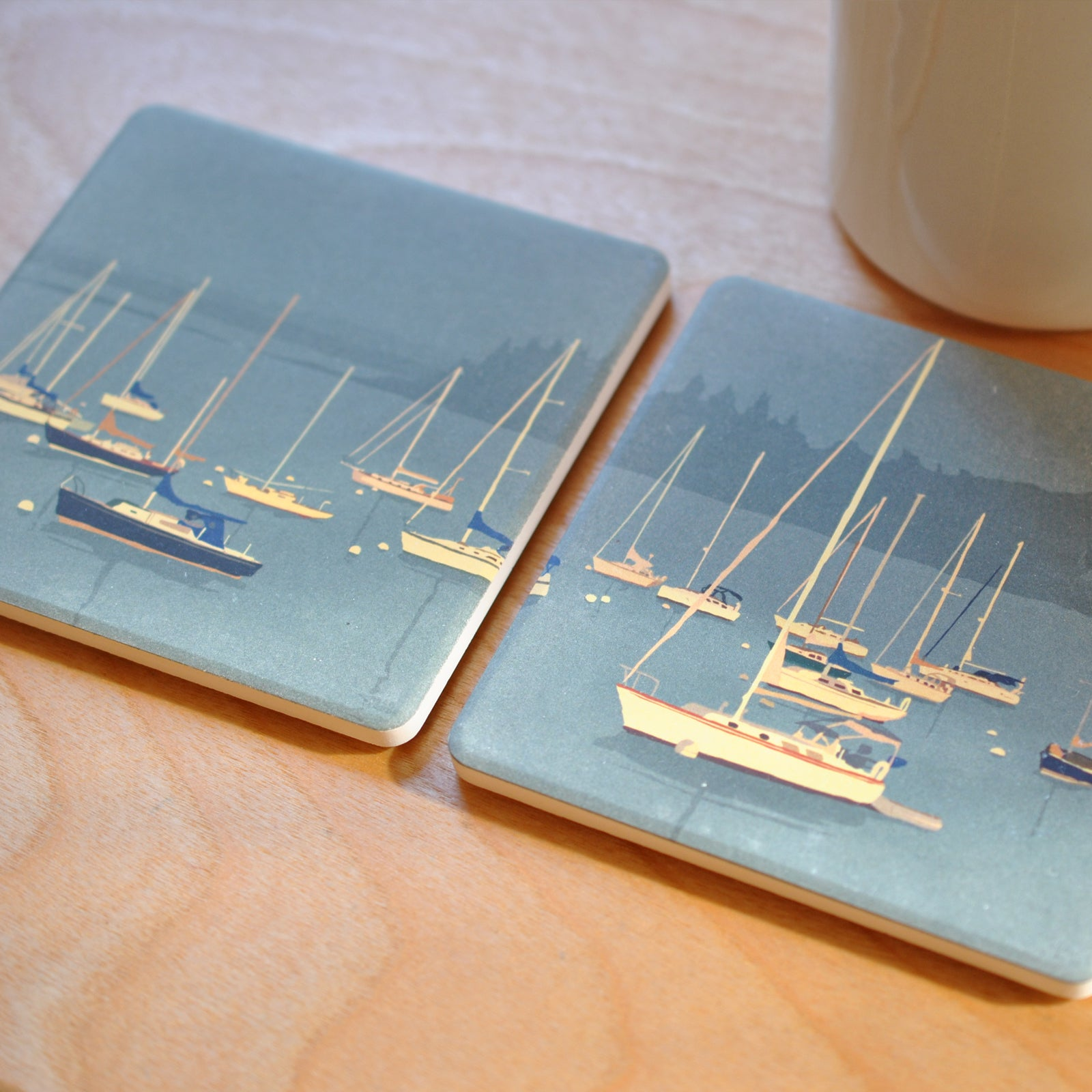 Sailboats In Rockland Harbor Art Drink Coaster Set - Maine