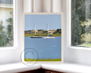 "Sailboats at Sandy Neck Art Print 8"" x 10"" Travel Poster - Massachusetts"