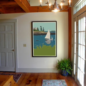 "Sailing Long Cove Art Print 36"" x 53"" Framed Wall Poster - Maine"