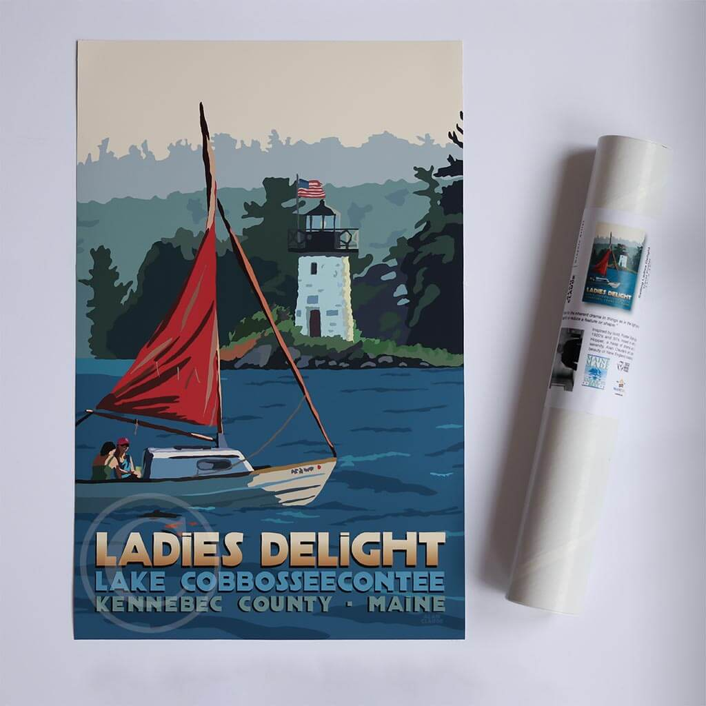"Sailing Ladies Delight Art Print 11"" x 17"" Travel Poster - Maine by Alan Claude"