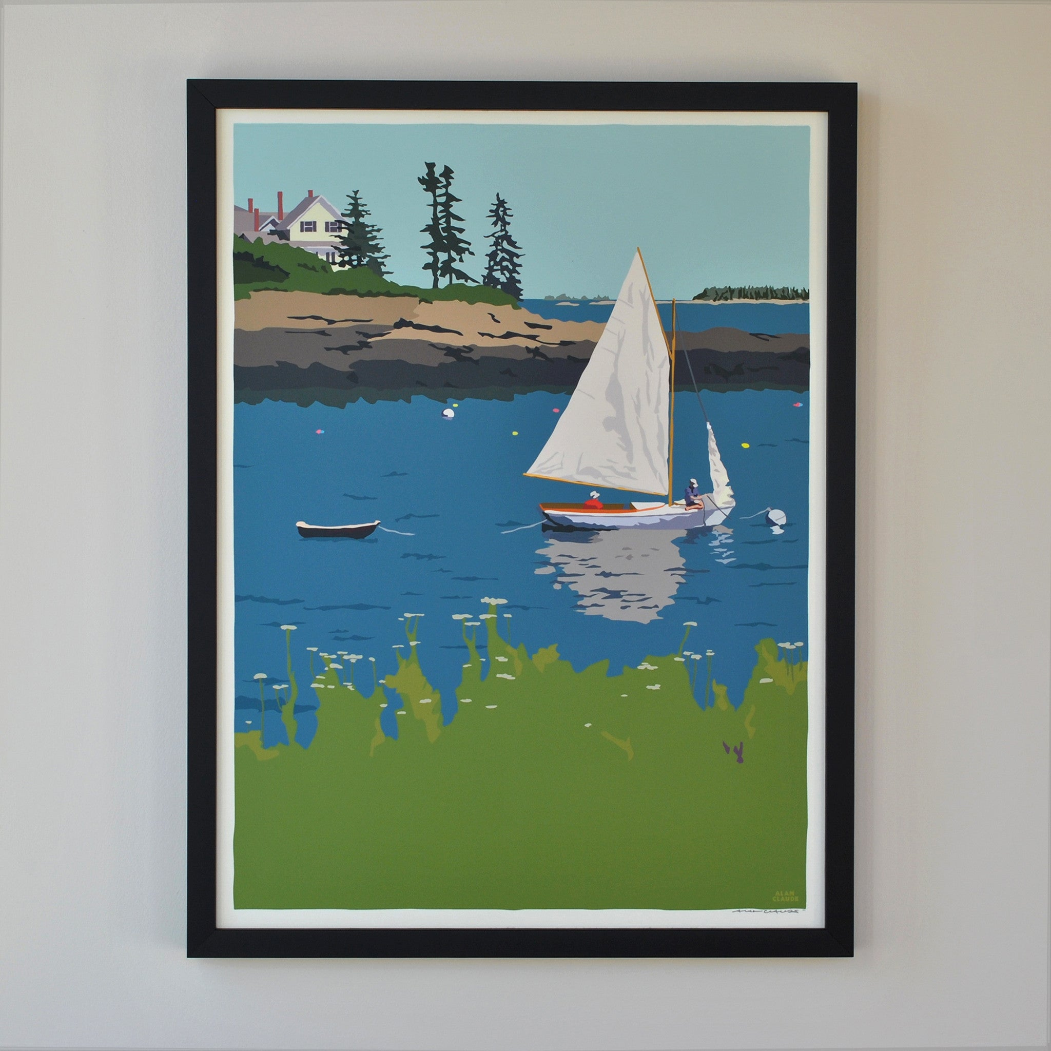 "Sailing Long Cove Art Print 18"" x 24"" Framed Wall Poster - Maine"