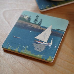 Sailing Long Cove Art Drink Coaster - Maine