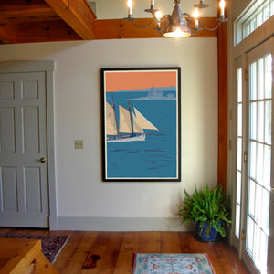 "Schooner at the Cuckolds Art Print 36"" x 53"" Framed Wall Poster - Maine"