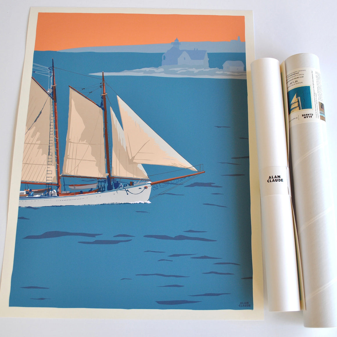 "Schooner at the Cuckolds Art Print 18"" x 24"" Wall Poster - Maine"