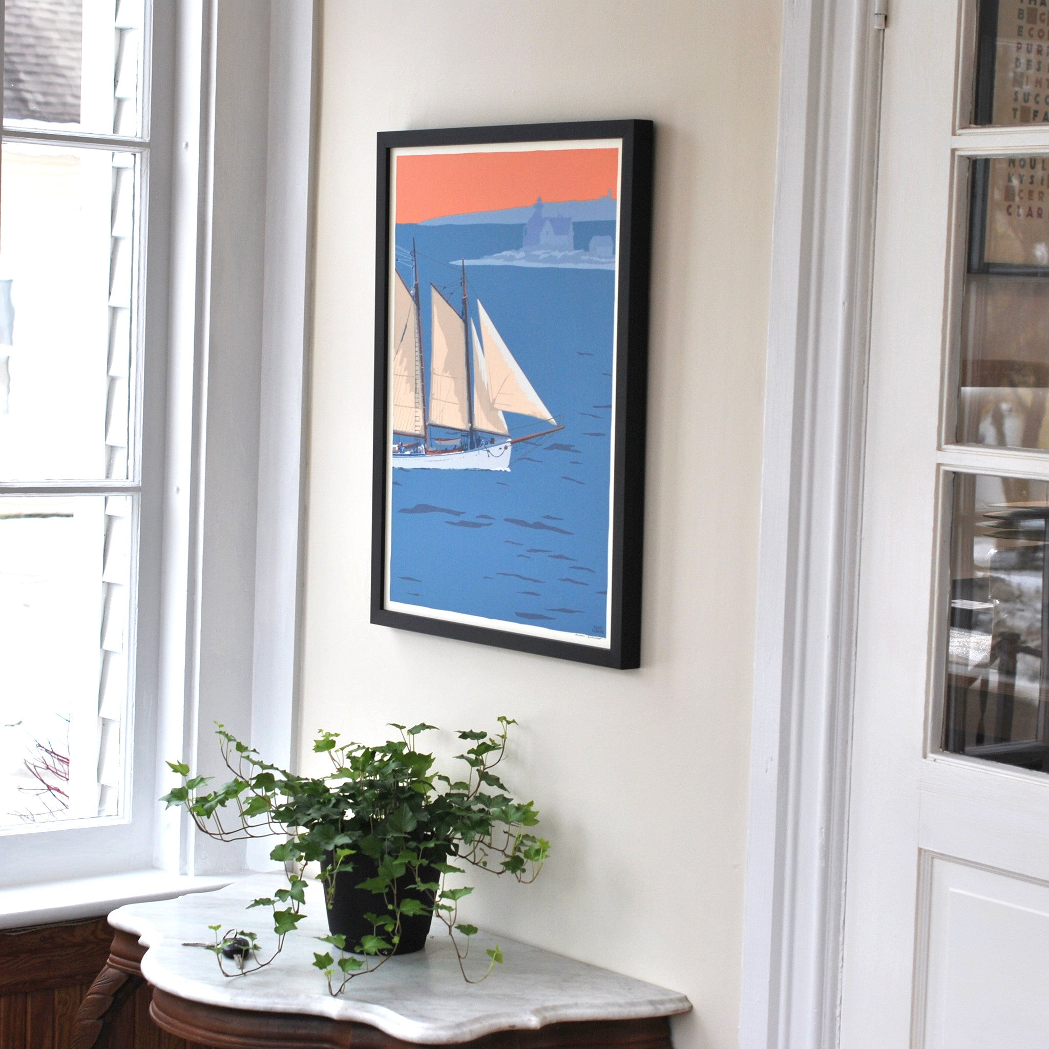 "Schooner at the Cuckolds Art Print 18"" x 24"" Framed Wall Poster - Maine"