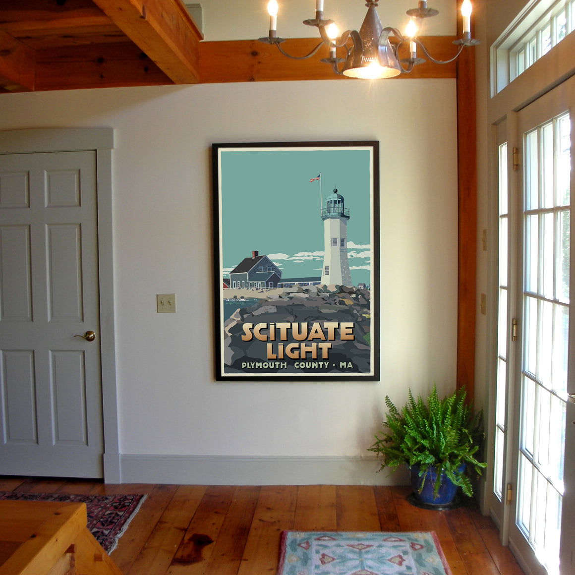 "Scituate Light Art Print 36"" x 53"" Framed Travel Poster - Massachusetts"