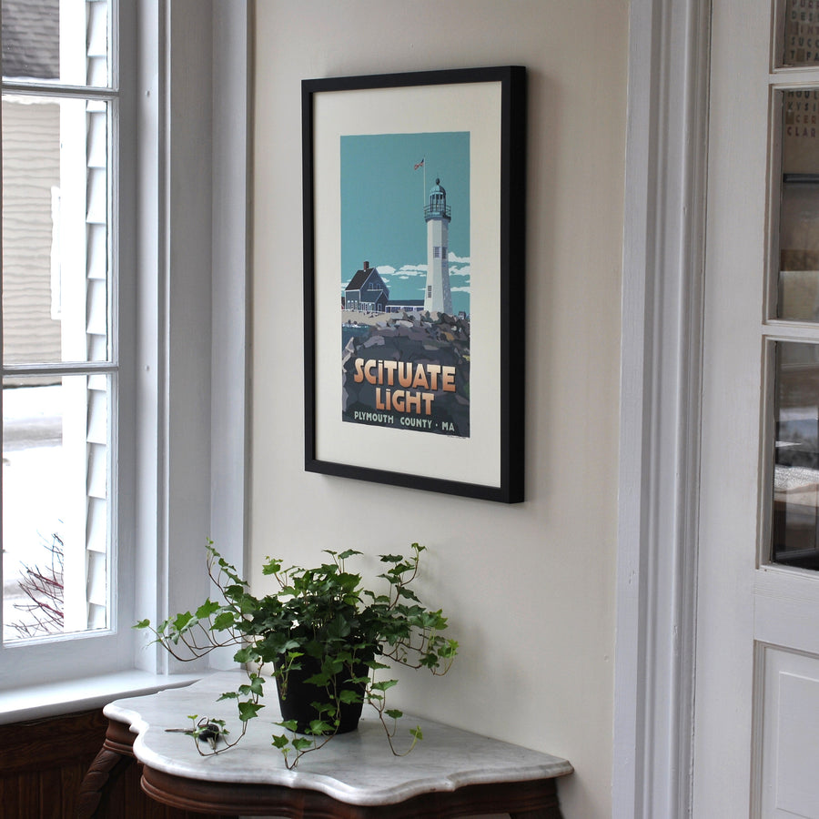 "Scituate Light Art Print 18"" x 24"" Framed Travel Poster - Massachusetts"