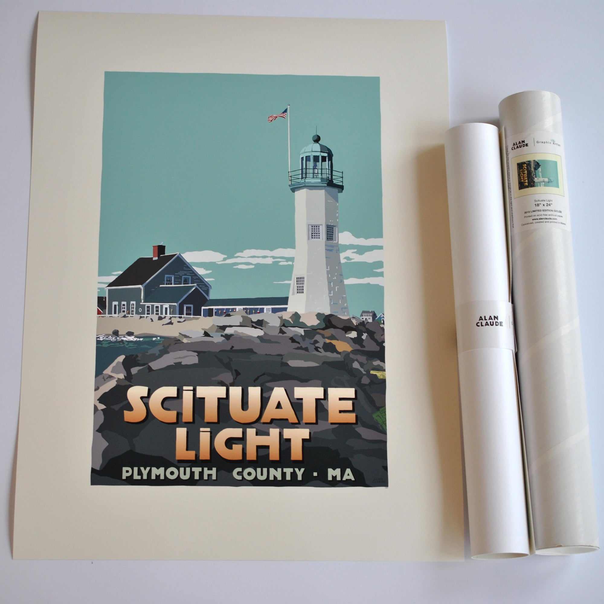 "Scituate Light Art Print 18"" x 24"" Travel Poster - Massachusetts"