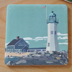 Scituate Light Art Drink Coaster - Massachusetts