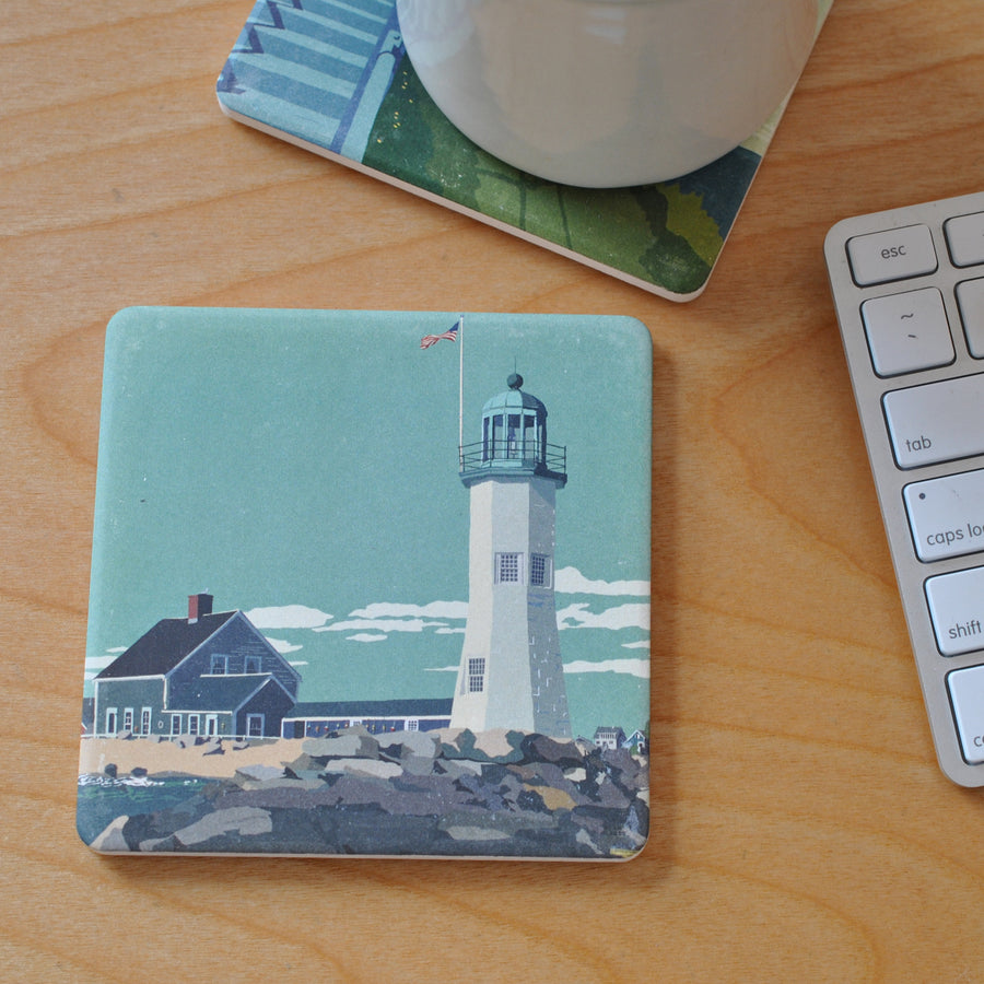 Scituate Light Art Drink Coaster - Massachusetts -