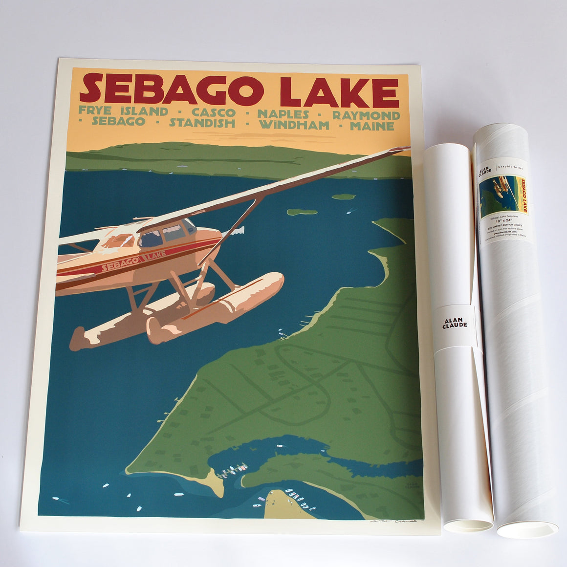 "Sebago Lake Seaplane Art Print 18"" x 24"" Travel Poster - Maine"