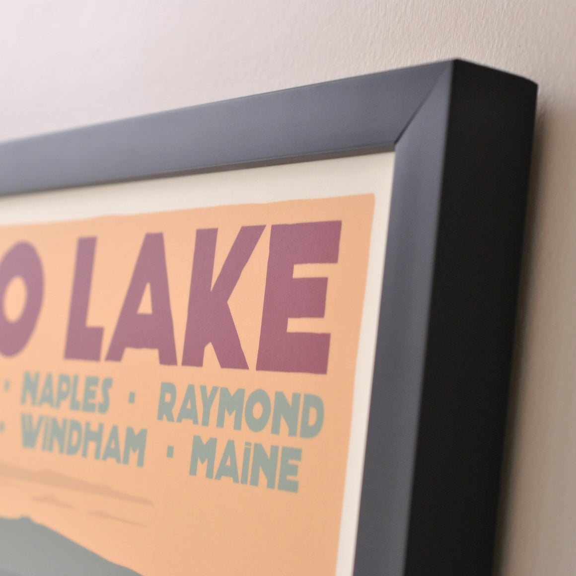 "Sebago Lake Seaplane Art Print 18"" x 24"" Framed Travel Poster - Maine"