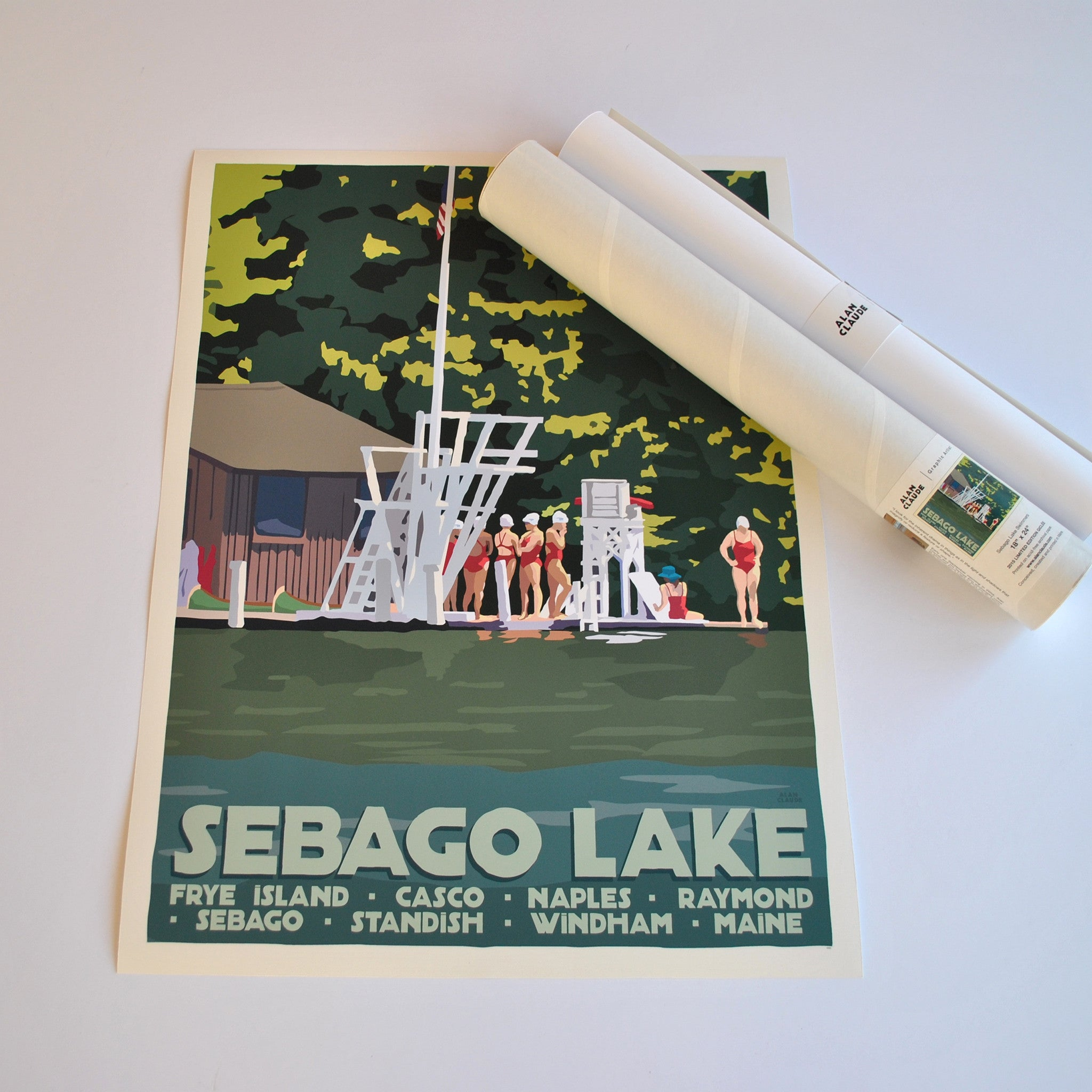 "Sebago Lake Swimmers Art Print 18"" x 24"" Travel Poster - Maine"