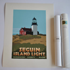 "Seguin Island Light Art Print 18"" x 24"" Travel Poster - Maine"