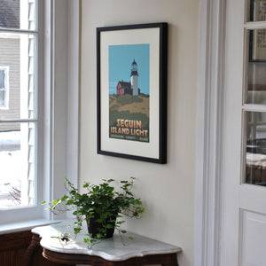 "Seguin Island Light Art Print 18"" x 24"" Framed Travel Poster - Maine"