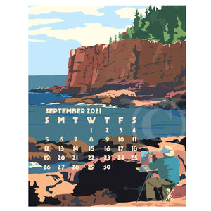 SOLD OUT! 2021 POSTER Art Calendar 11x14 Retro Vintage Art Style by Maine Artist Alan Claude