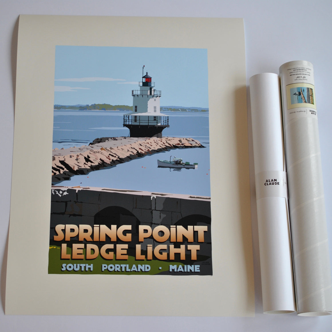 "Spring Point Ledge Light Art Print 18"" x 24"" Travel Poster - Maine"