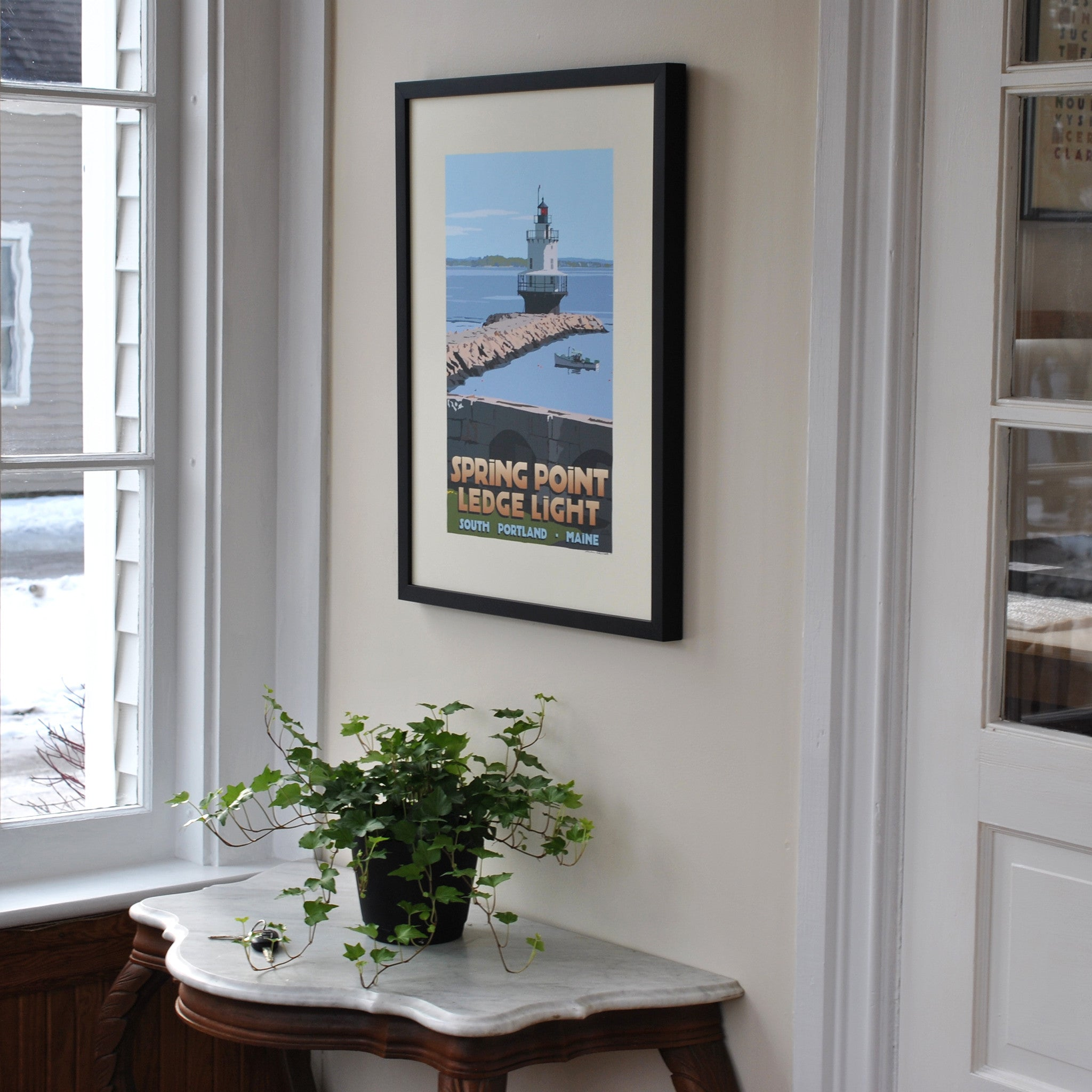 "Spring Point Ledge Light Art Print 18"" x 24"" Framed Travel Poster - Maine"