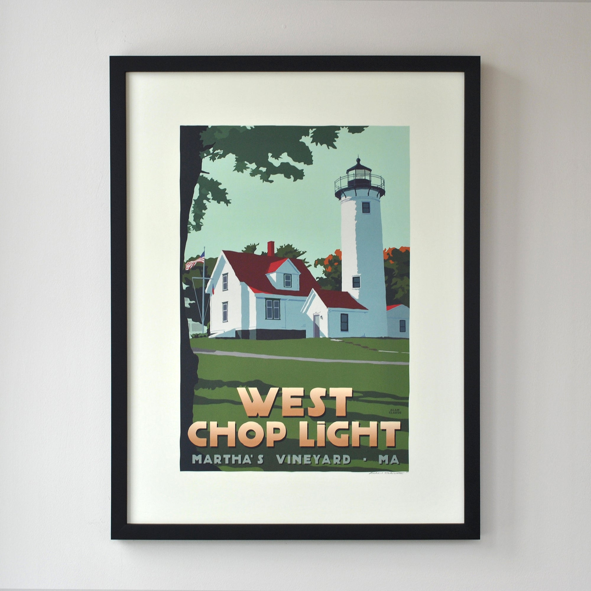 "West Chop Light Art Print 18"" x 24"" Framed Travel Poster - Massachusetts"