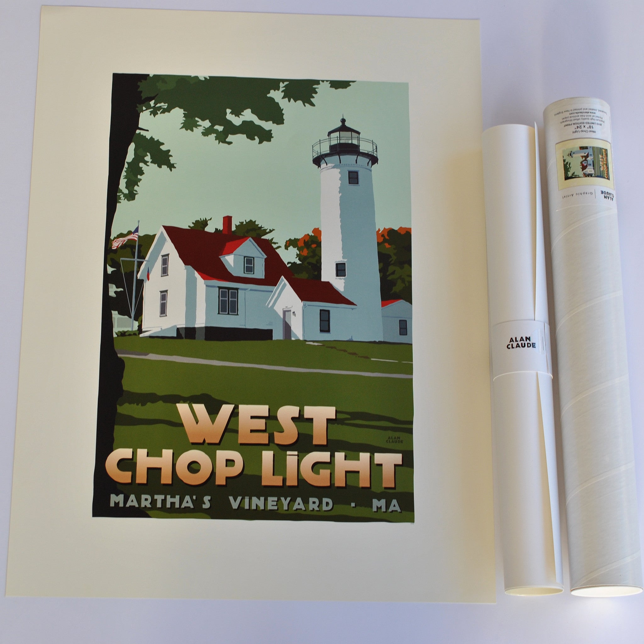 "West Chop Light Art Print 18"" x 24"" Travel Poster - Massachusetts"