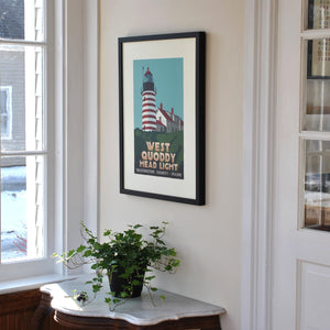 "West Quoddy Head Light Art Print 18"" x 24"" Framed Travel Poster - Maine"
