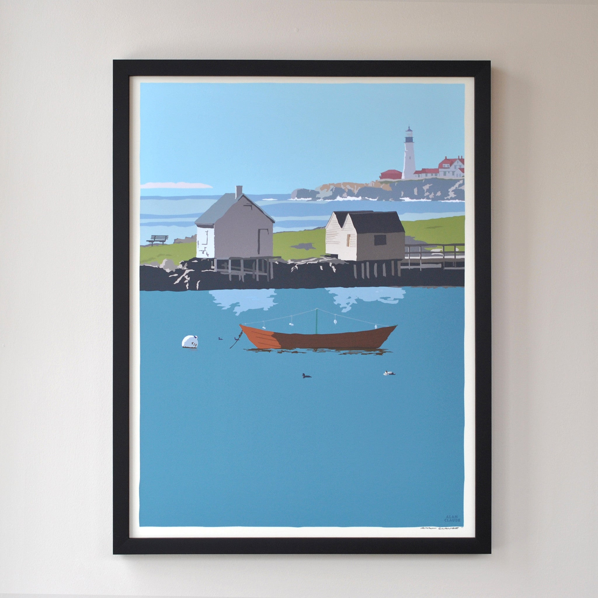 "Willard Beach Art Print 18"" x 24"" Framed Wall Poster - Maine"