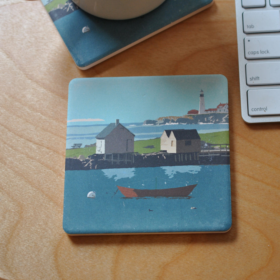 Willard Beach Art Drink Coaster - Maine