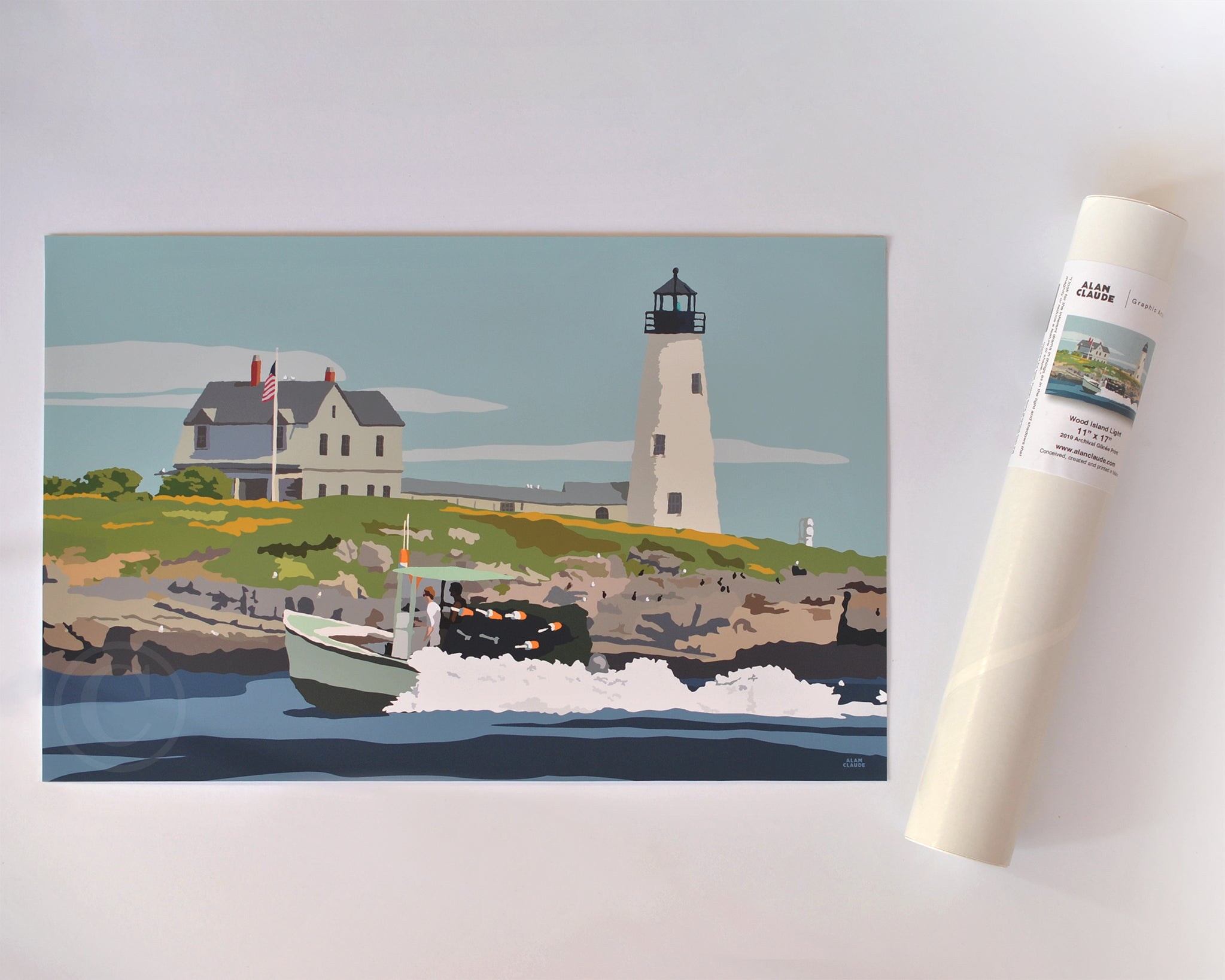 "Wood Island Light Art Print 11"" x 17"" Wall Poster - Maine"