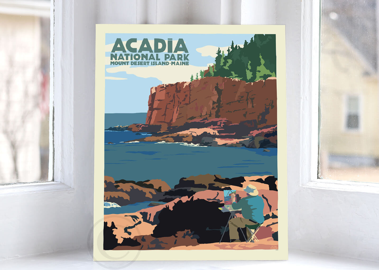 "Painting In Acadia National Park Art Print 8"" x 10"" Wall Poster By Alan Claude"