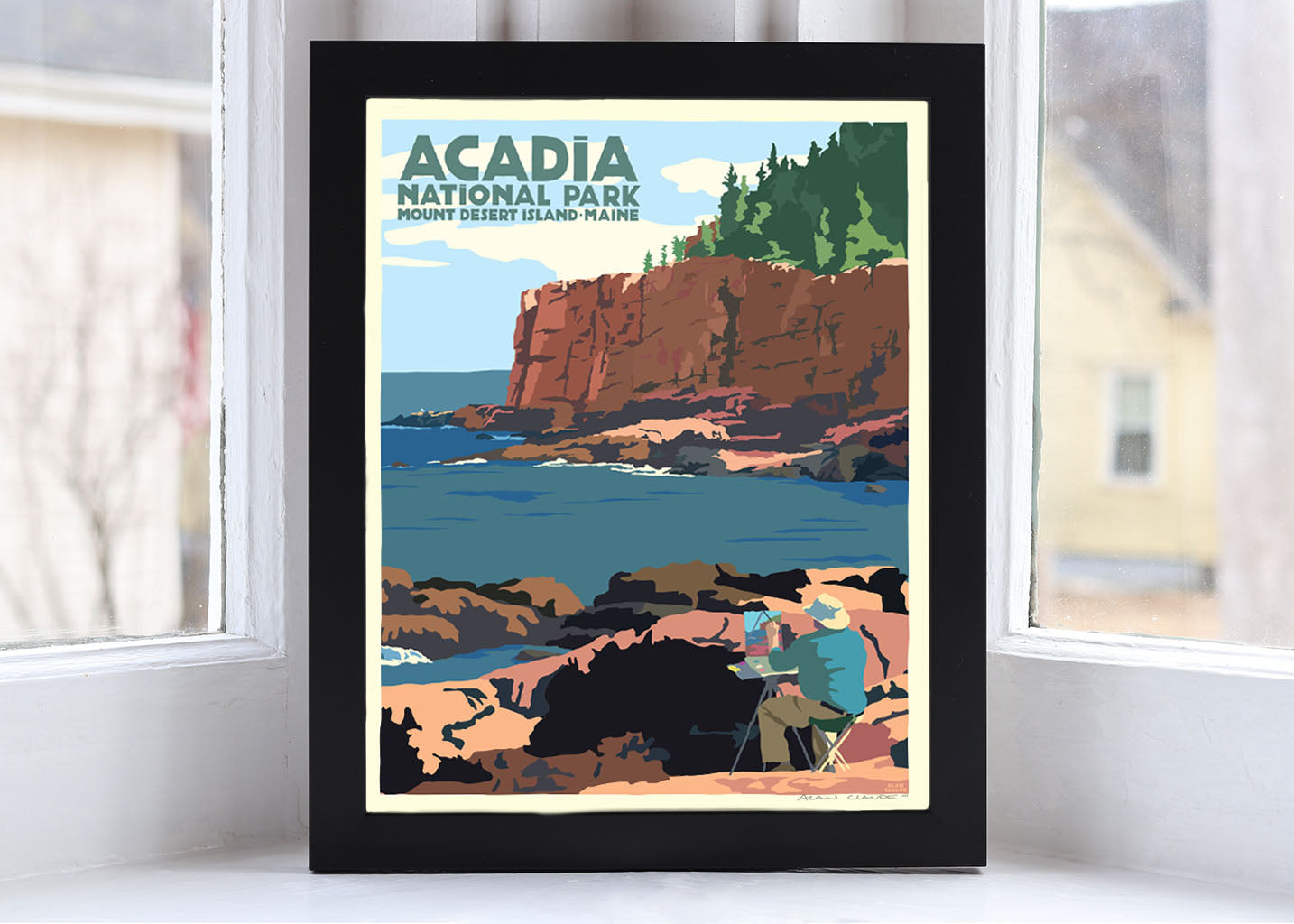 "Painting In Acadia National Park Art Print 8"" x 10"" Framed Wall Poster By Alan Claude"
