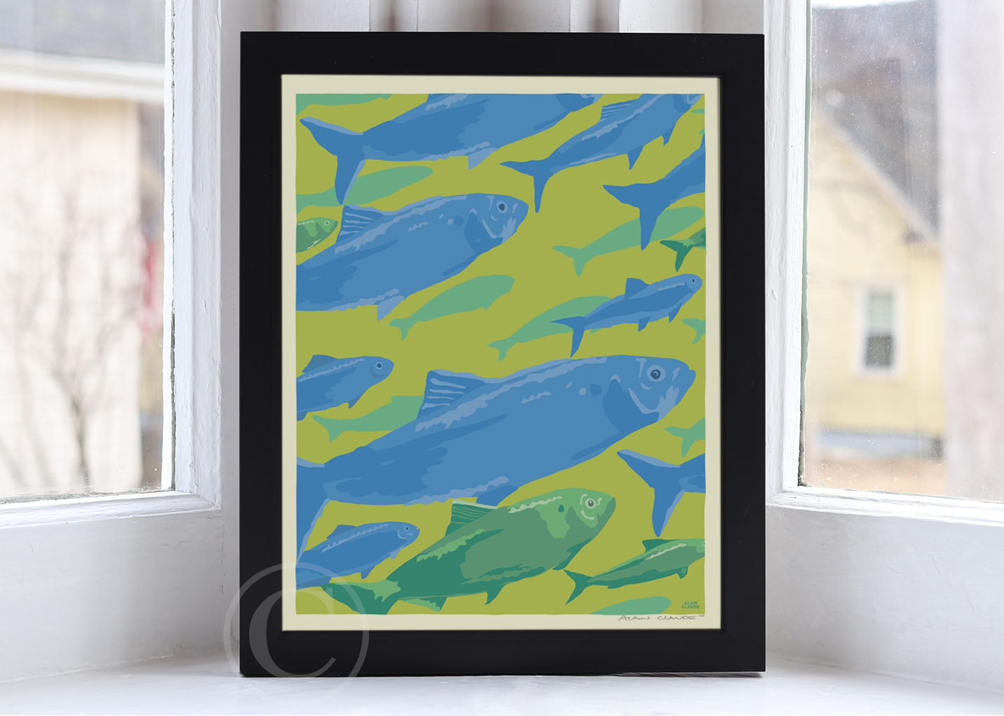 "Alewives On The Move Art Print 8"" x 10"" Framed Wall Poster By Alan Claude"