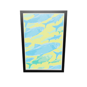 "Alewives On The Move Art Print 24"" x 36"" Framed Wall Poster By Alan Claude"