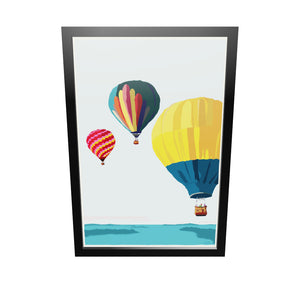 "Balloons Over Islands Art Print 24"" x 36"" Framed Wall Poster - Maine by Alan Claude"
