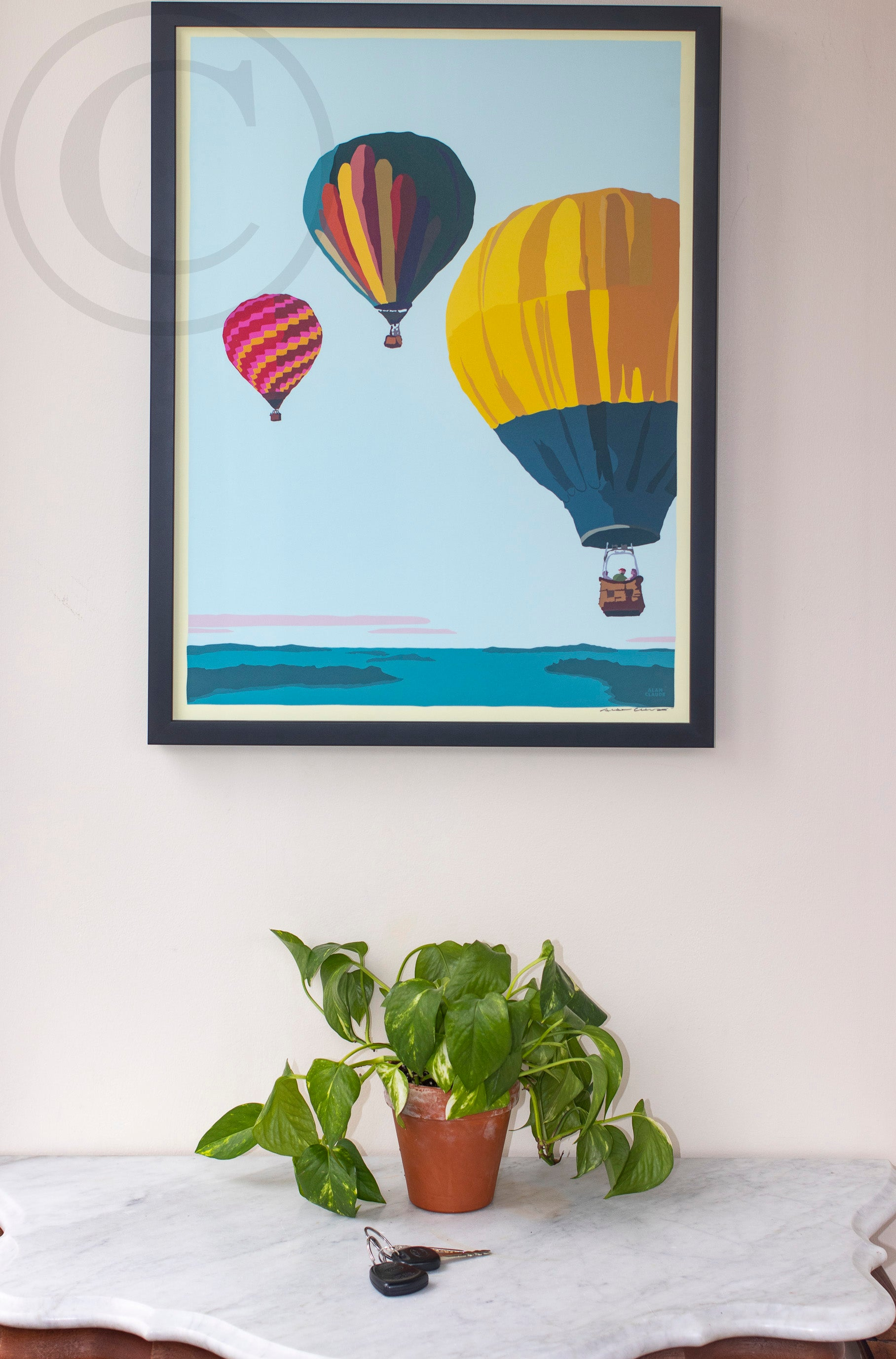 "Balloons Over Islands Art Print 18"" x 24"" Framed Wall Poster"