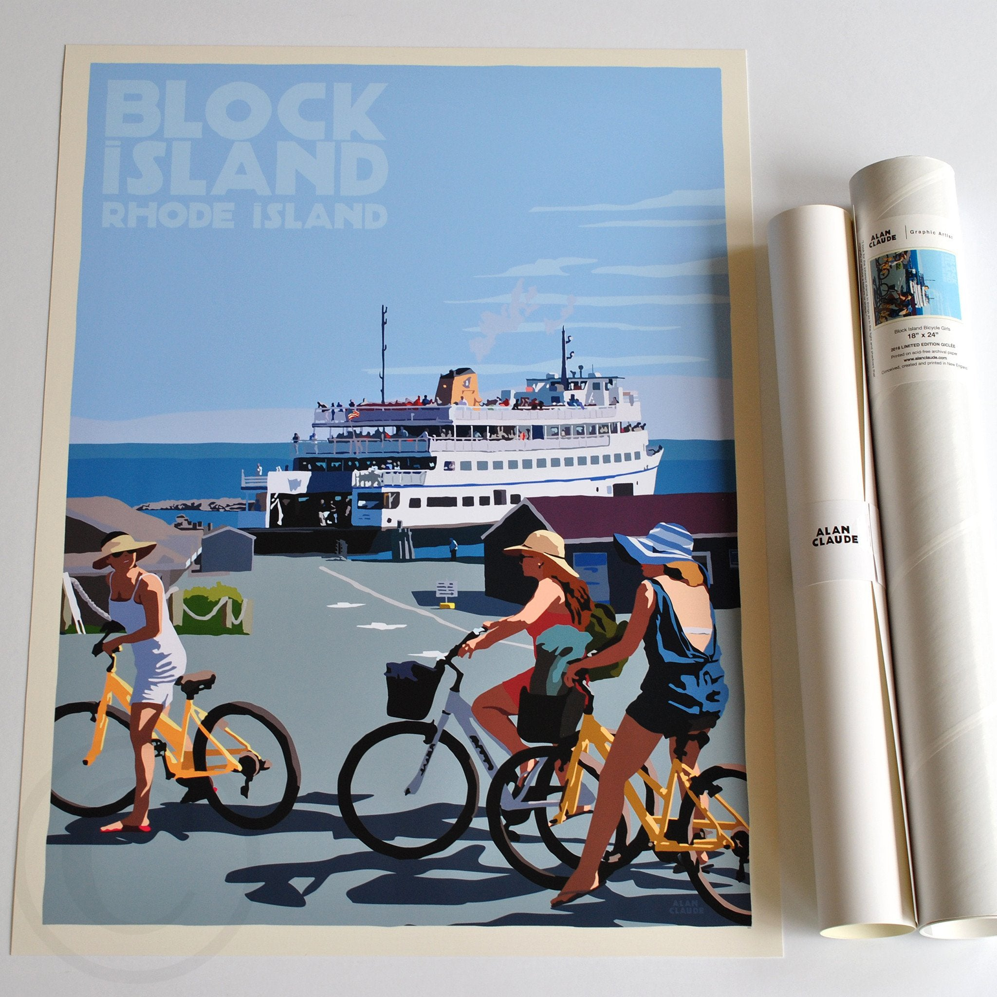 "Block Island Bicycle Girls Art Print 18"" x 24"" Travel Poster - Rhode Island"